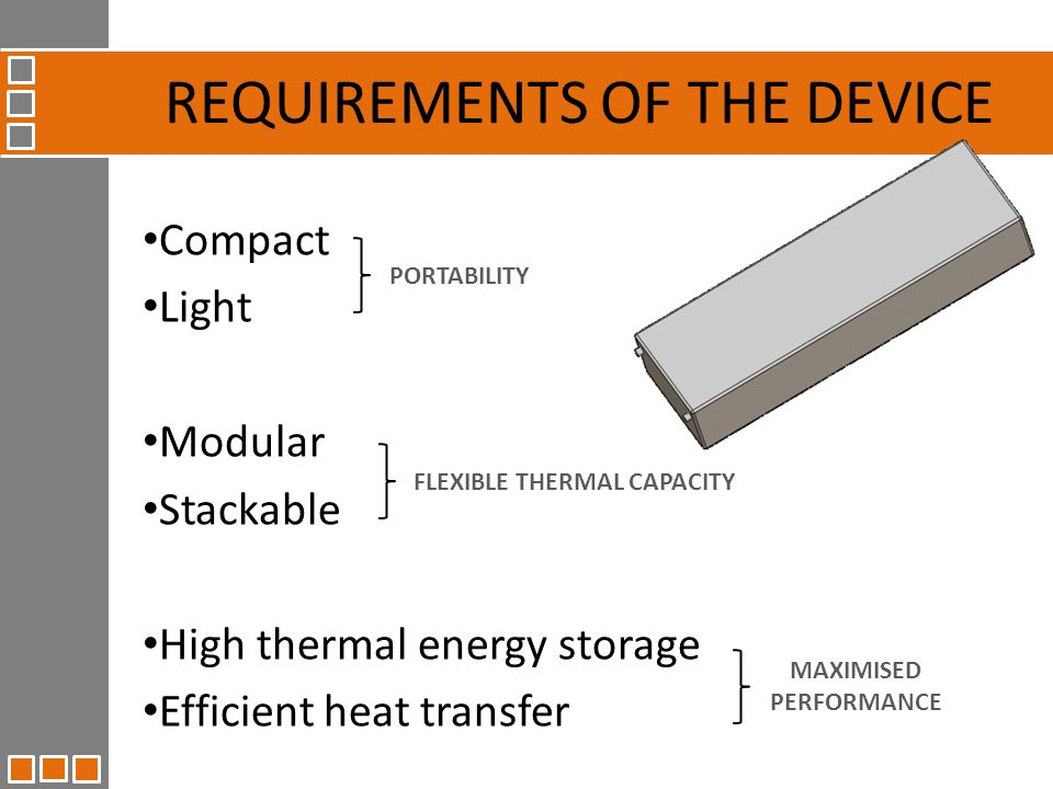 Compact Light Modular Stackable High thermal energy storage Efficient heat transfer REQUIREMENTS OF THE DEVICE PORTABILITY FLEXIBLE THERMAL CAPACITY MAXIMISED PERFORMANCE