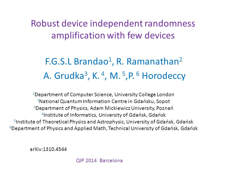 Robust device independent randomness amplification with few devices F.G.S.L Brandao 1, R.