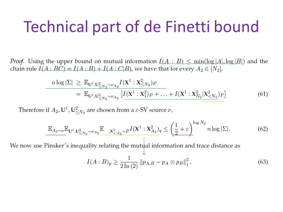 Technical part of de Finetti bound