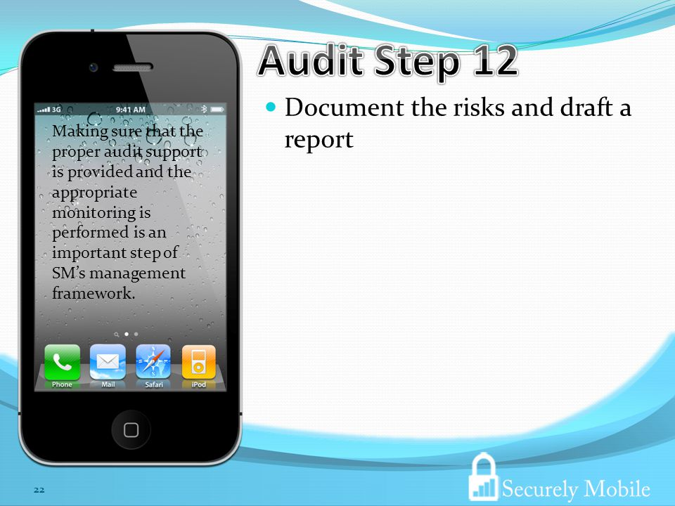 Document the risks and draft a report 22 Making sure that the proper audit support is provided and the appropriate monitoring is performed is an important step of SMs management framework.