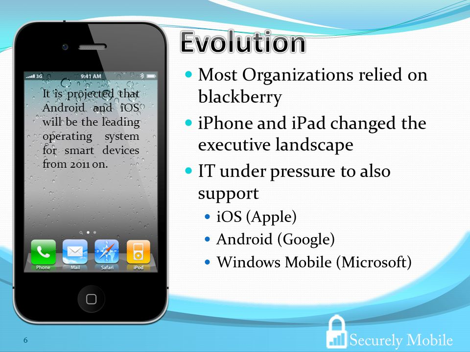 Most Organizations relied on blackberry iPhone and iPad changed the executive landscape IT under pressure to also support iOS (Apple) Android (Google) Windows Mobile (Microsoft) It is projected that Android and iOS will be the leading operating system for smart devices from 2011 on.