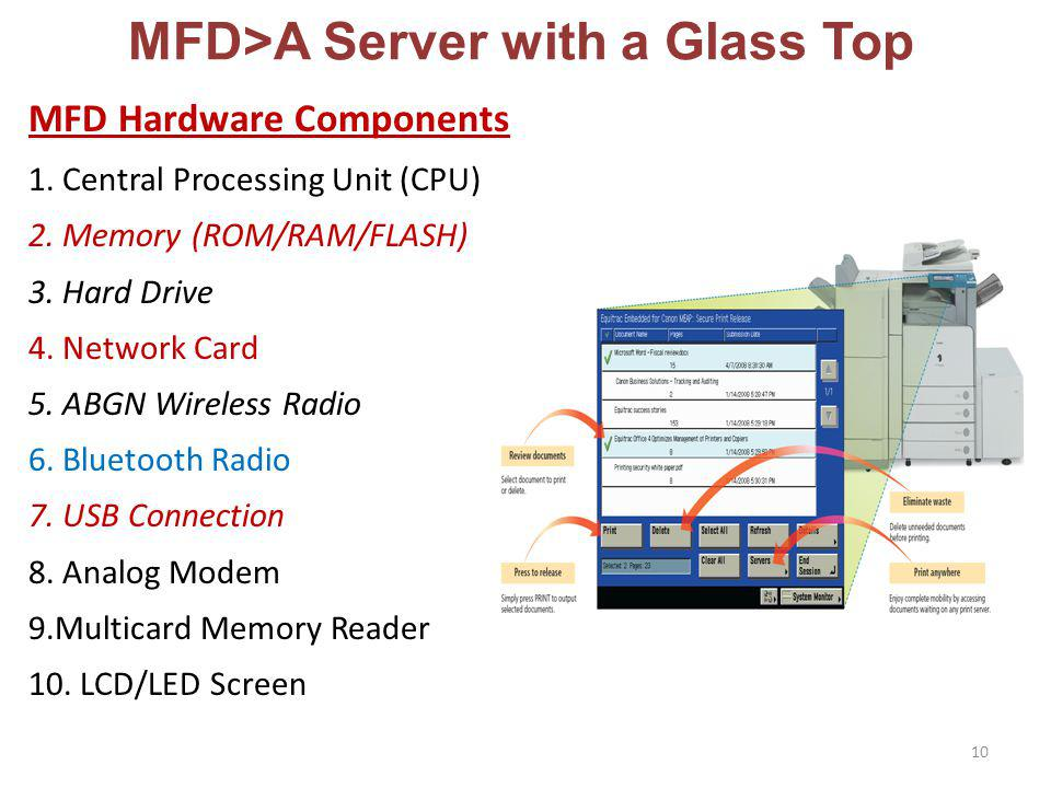 MFD>A Server with a Glass Top MFD Hardware Components 1.