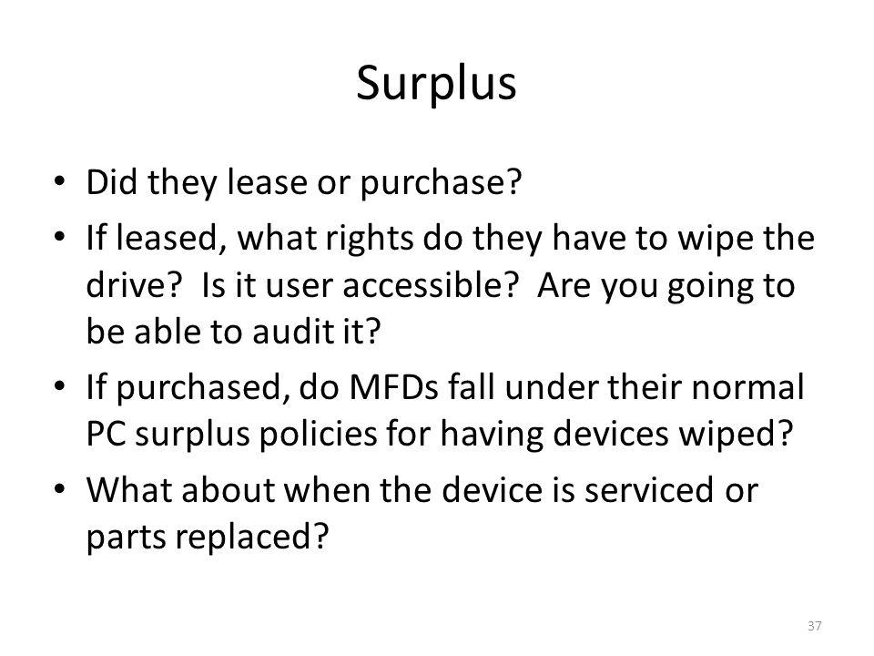 Surplus Did they lease or purchase. If leased, what rights do they have to wipe the drive.
