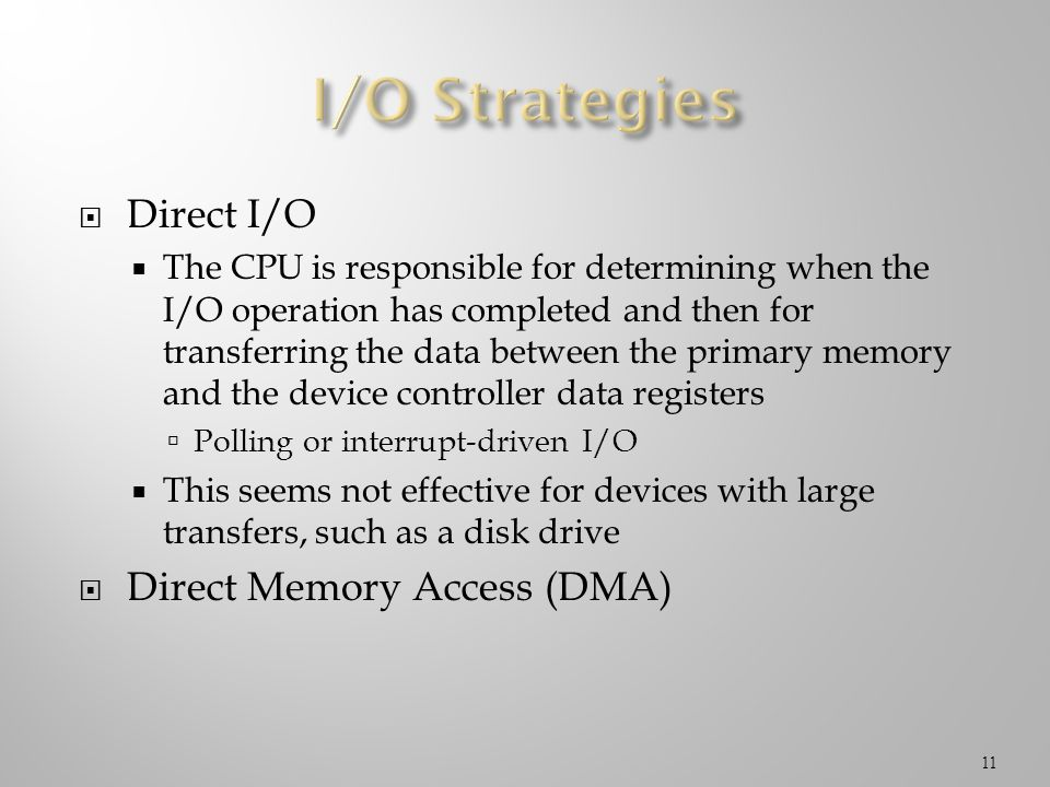 Direct I/O The CPU is responsible for determining when the I/O operation has completed and then for transferring the data between the primary memory a