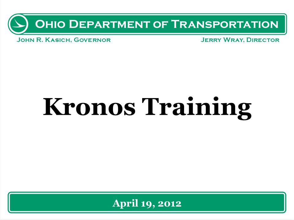 Ohio Department of Transportation John R.