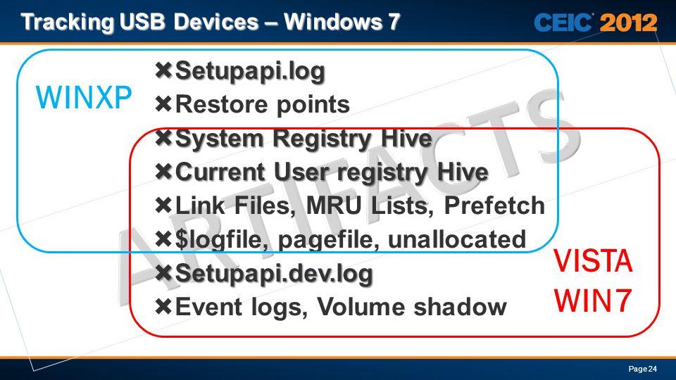Tracking USB Devices – Windows 7 Page 24 WINXP VISTA WIN7 Setupapi.log Setupapi.log Restore points System Registry Hive System Registry Hive Current User registry Hive Current User registry Hive Link Files, MRU Lists, Prefetch $logfile, pagefile, unallocated Setupapi.dev.log Setupapi.dev.log Event logs, Volume shadow