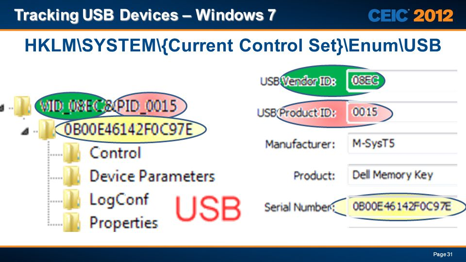 HKLM\SYSTEM\{Current Control Set}\Enum\USB Tracking USB Devices – Windows 7 Page 31