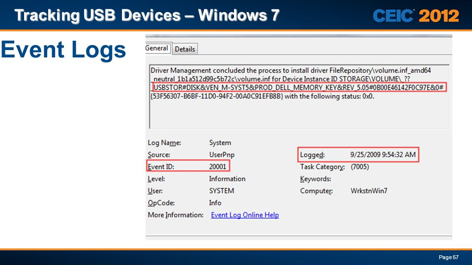 Tracking USB Devices – Windows 7 Page 57 Event Logs