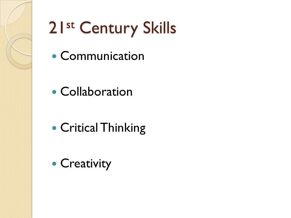 21 st Century Skills Communication Collaboration Critical Thinking Creativity