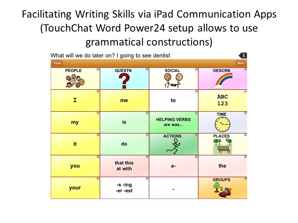 Facilitating Writing Skills via iPad Communication Apps (TouchChat Word Power24 setup allows to use grammatical constructions)