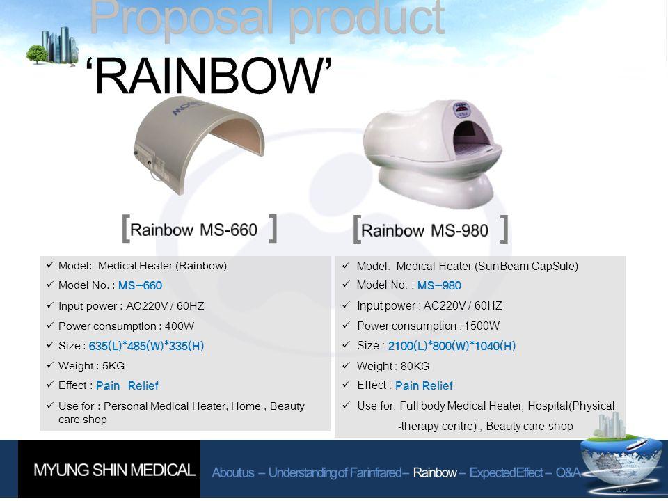 15 [ ] Model: Medical Heater (Rainbow) Model No.