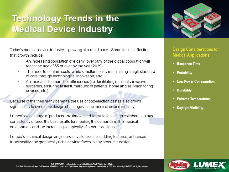 Technology Trends in the Medical Device Industry CONFIDENTIAL: All contents copyright of Illinois Tool Works, Inc. (ITW). The ITW Photonics Group, Cal