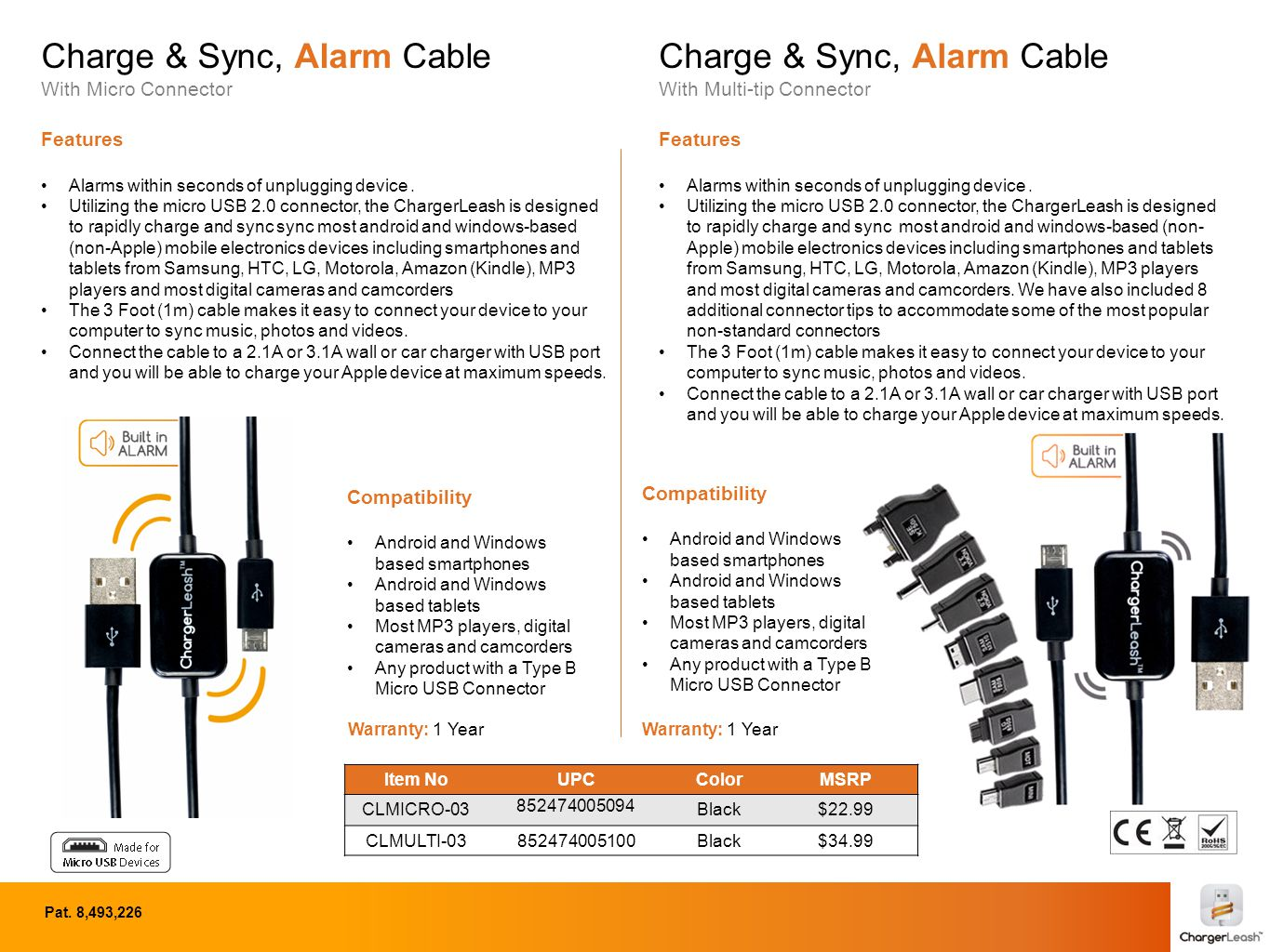 Charge & Sync, Alarm Cable With Micro Connector Features Alarms within seconds of unplugging device.