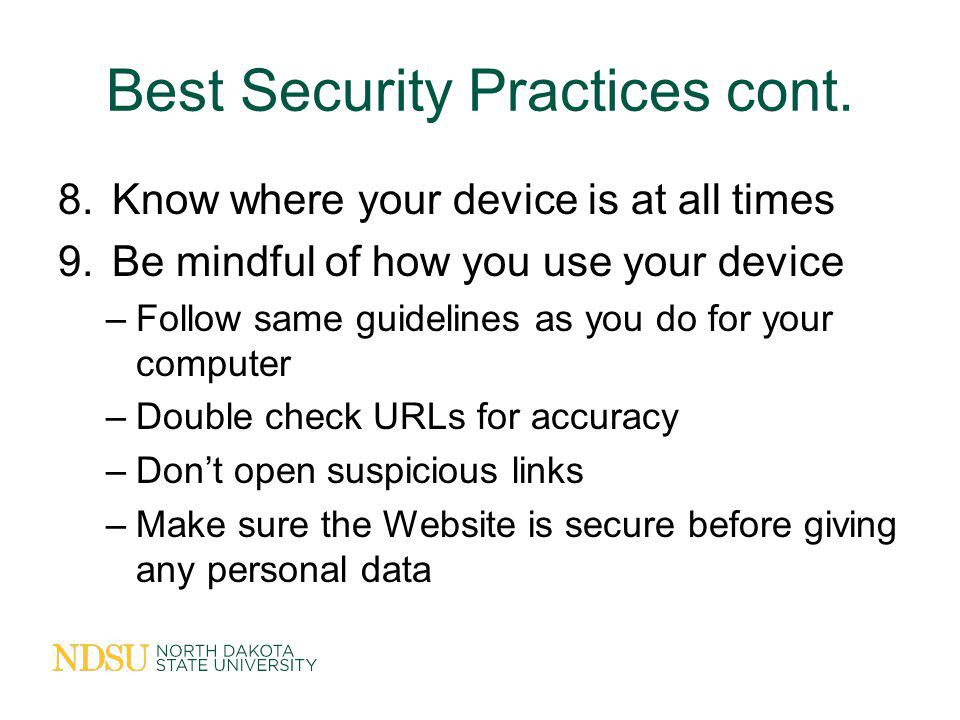 Best Security Practices cont.