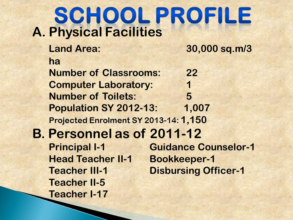 A.Physical Facilities Land Area: 30,000 sq.m/3 ha Number of Classrooms: 22 Computer Laboratory: 1 Number of Toilets: 5 Population SY 2012-13: 1,007 Projected Enrolment SY 2013-14: 1,150 B.