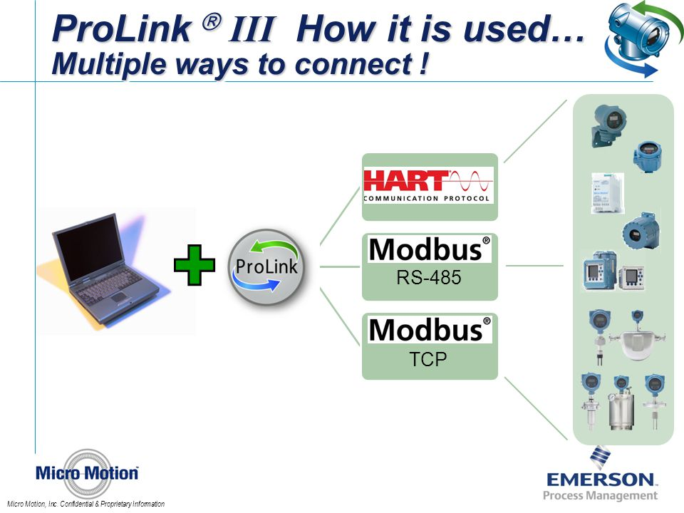 Micro Motion, Inc. Confidential & Proprietary Information ProLink III How it is used… Multiple ways to connect ! RS-485 TCP