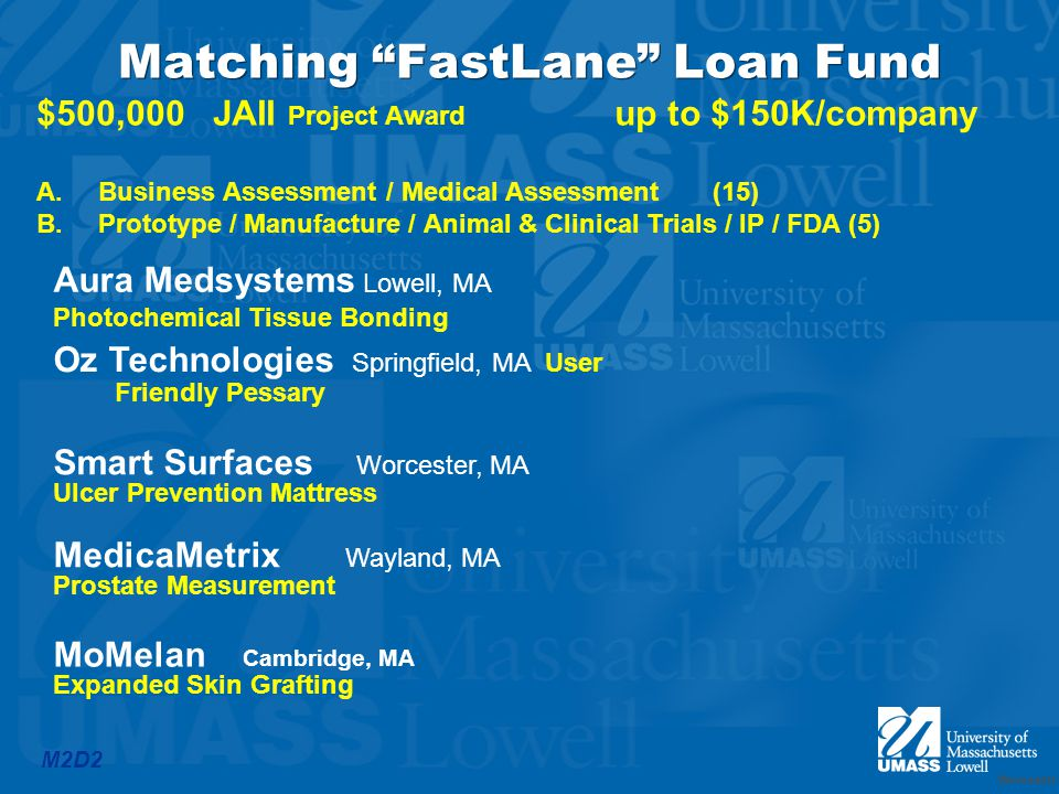 M2D2 Matching FastLane Loan Fund $500,000 JAII Project Award up to $150K/company A.Business Assessment / Medical Assessment (15) B.Prototype / Manufacture / Animal & Clinical Trials / IP / FDA (5) Worcester Aura Medsystems Lowell, MA Photochemical Tissue Bonding Oz Technologies Springfield, MA User Friendly Pessary Smart Surfaces Worcester, MA Ulcer Prevention Mattress MedicaMetrix Wayland, MA Prostate Measurement MoMelan Cambridge, MA Expanded Skin Grafting