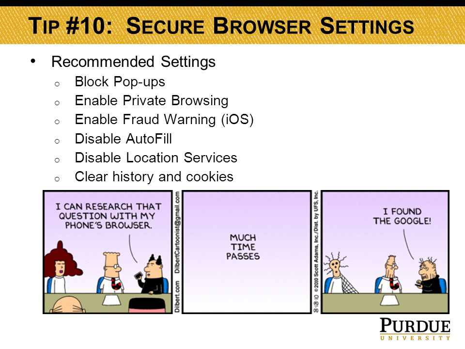 T IP #10: S ECURE B ROWSER S ETTINGS Recommended Settings o Block Pop-ups o Enable Private Browsing o Enable Fraud Warning (iOS) o Disable AutoFill o Disable Location Services o Clear history and cookies