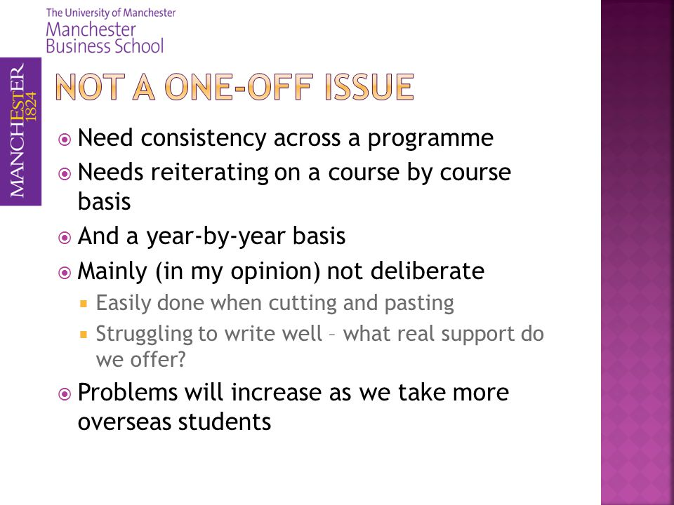 Need consistency across a programme Needs reiterating on a course by course basis And a year-by-year basis Mainly (in my opinion) not deliberate Easily done when cutting and pasting Struggling to write well – what real support do we offer.
