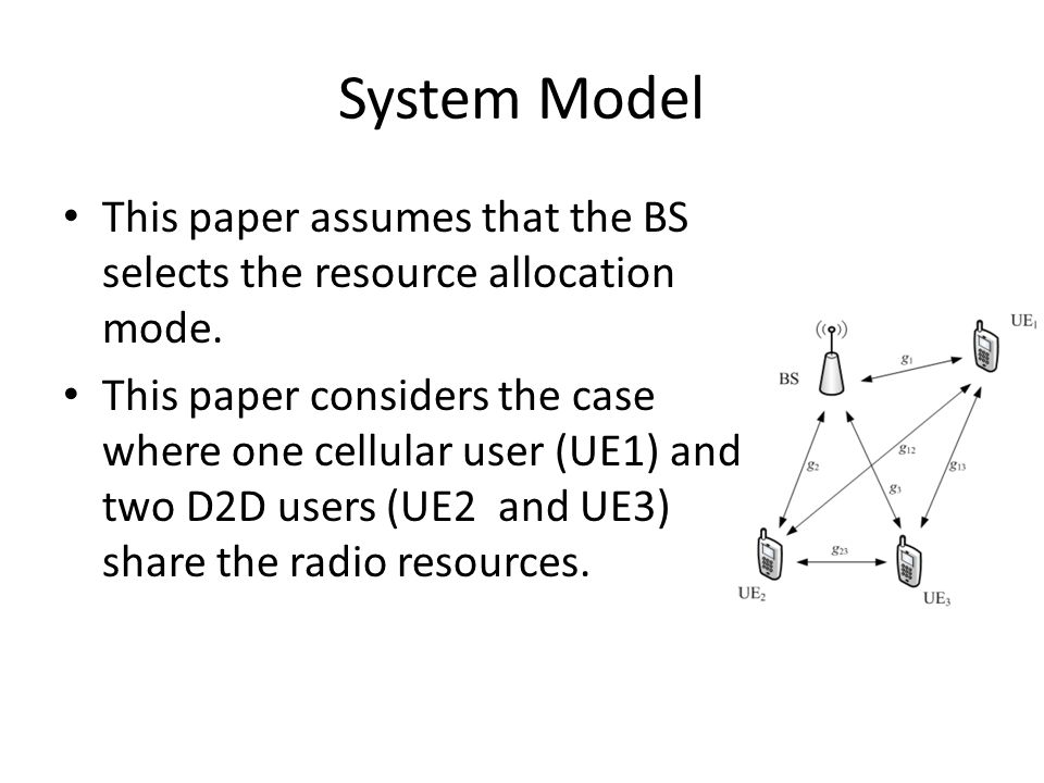 Three Resource Allocation Modes Non-Orthogonal Sharing mode (NOS): D2D and cellular users re-use the same resources, causing interference to each other.