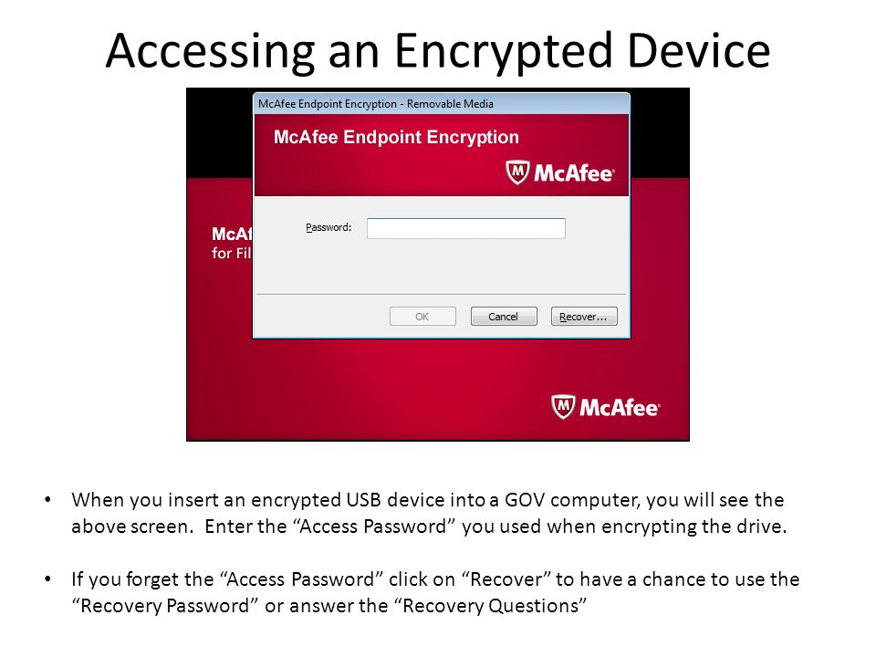 Accessing an Encrypted Device When you insert an encrypted USB device into a GOV computer, you will see the above screen.
