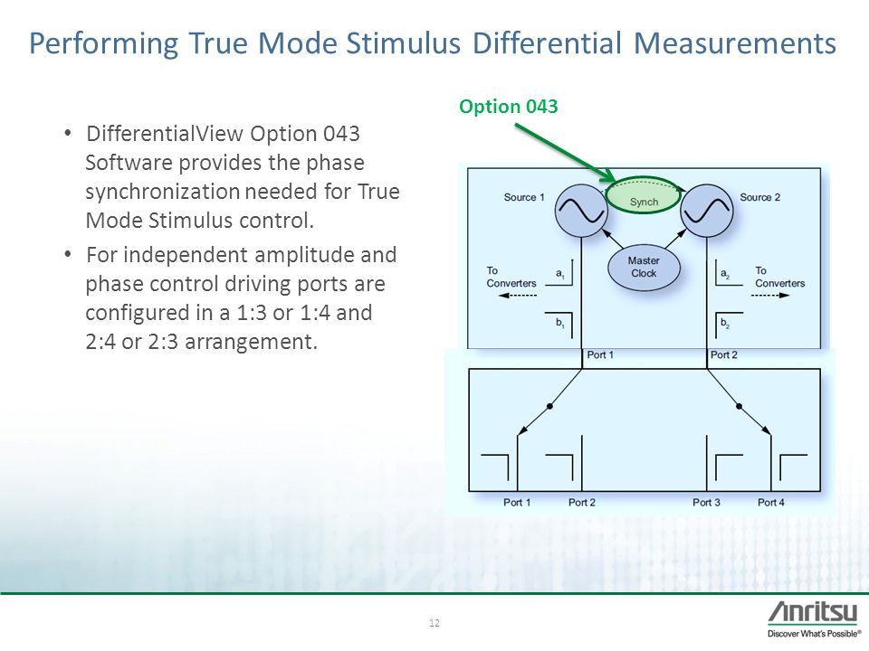 12 Performing True Mode Stimulus Differential Measurements DifferentialView Option 043 Software provides the phase synchronization needed for True Mod