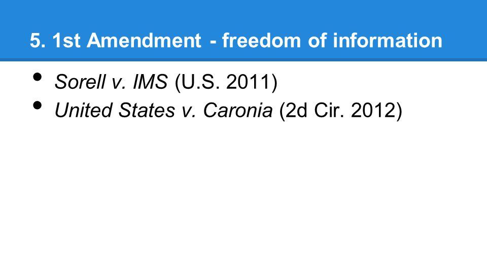 5. 1st Amendment - freedom of information Sorell v.