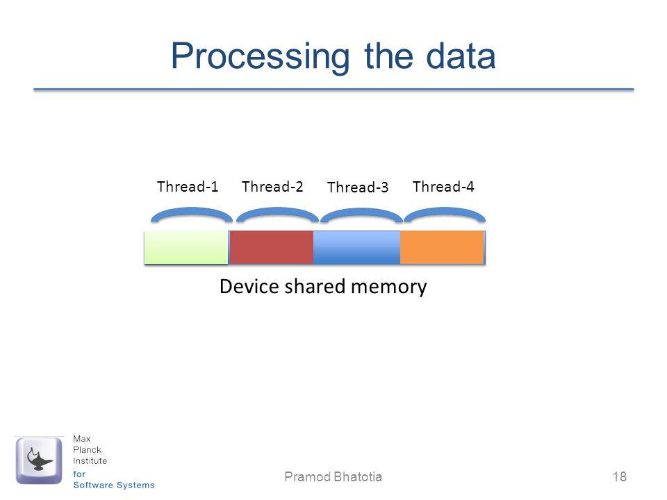 Processing the data Pramod Bhatotia 18 Thread-1Thread-2Thread-4 Device shared memory Thread-3