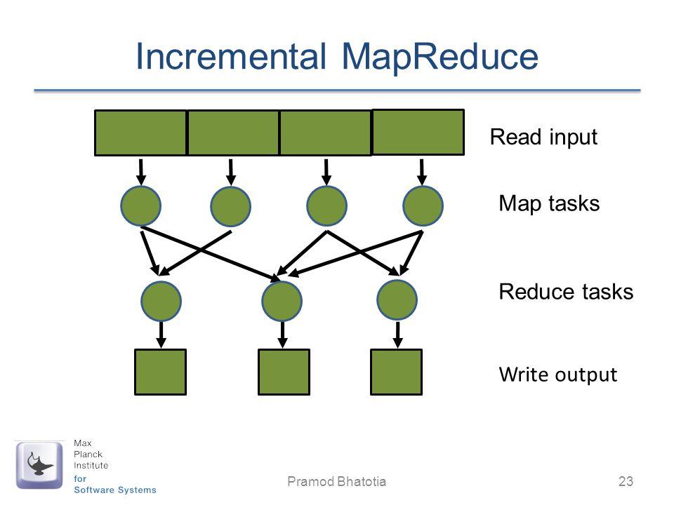 Read input Map tasks Reduce tasks Write output Incremental MapReduce Pramod Bhatotia 23