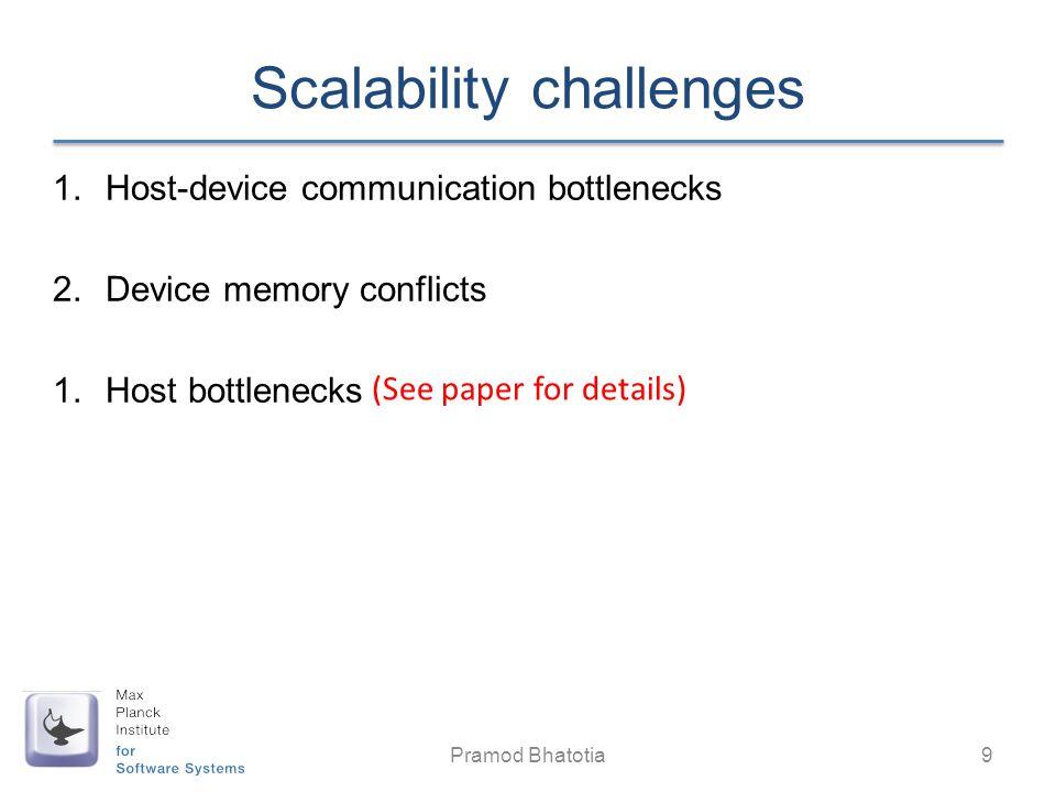 Scalability challenges 1.Host-device communication bottlenecks 2.Device memory conflicts 1.Host bottlenecks Pramod Bhatotia 9 (See paper for details)