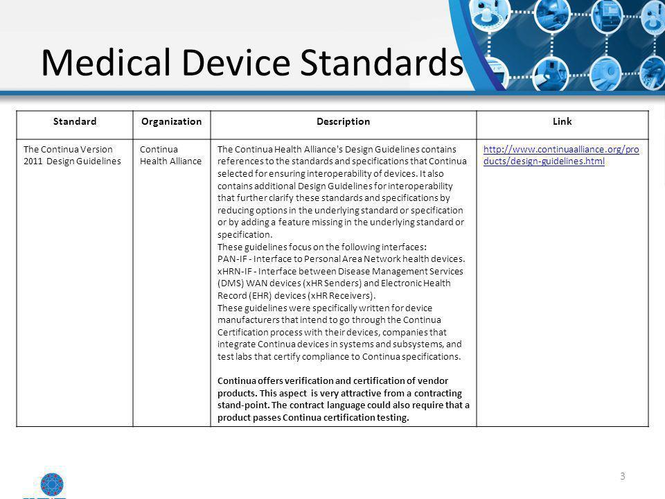 Medical Device Standards 3 StandardOrganizationDescriptionLink The Continua Version 2011 Design Guidelines Continua Health Alliance The Continua Healt
