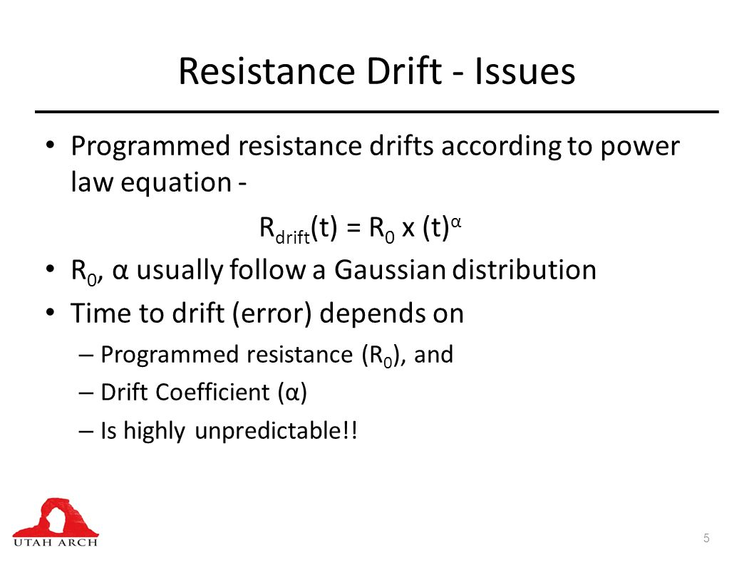 Resistance Drift - Issues Programmed resistance drifts according to power law equation - R 0, α usually follow a Gaussian distribution Time to drift (