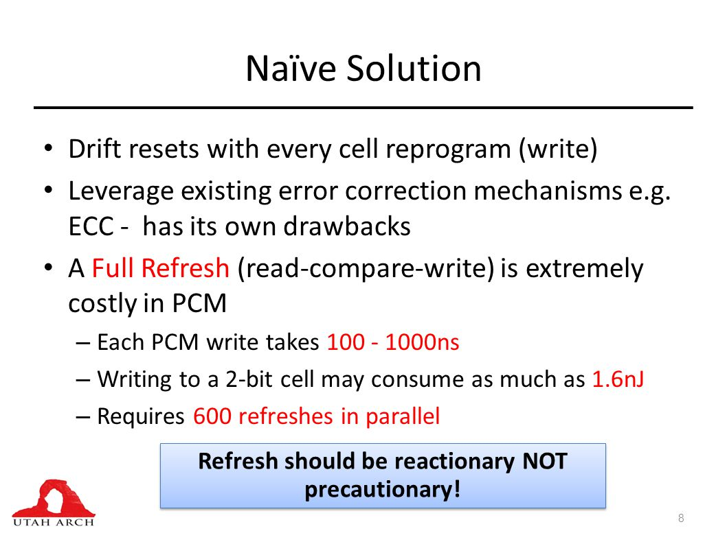 Naïve Solution Drift resets with every cell reprogram (write) Leverage existing error correction mechanisms e.g.