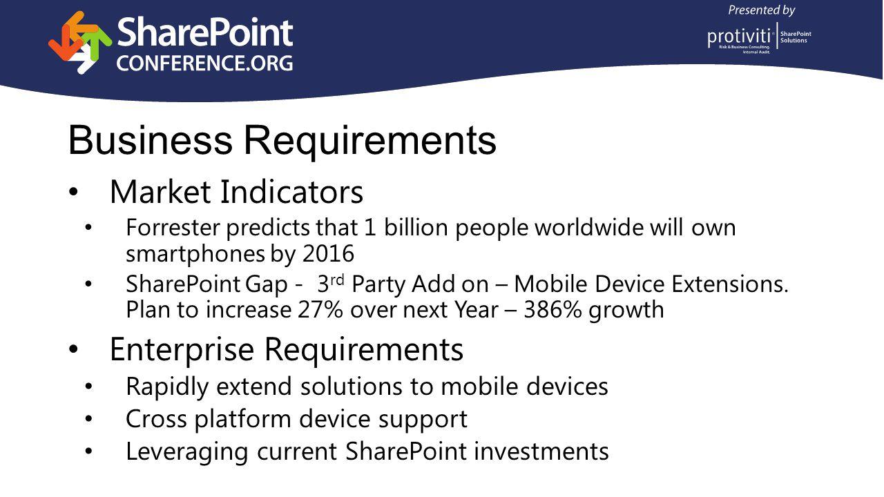Complete SharePoint Mobility Mobile Enterprise Application Platform Development API Mobile Collaboration Mobile BI Supports all major smartphones and tablets 100% integrated with SharePoint Server based licensing