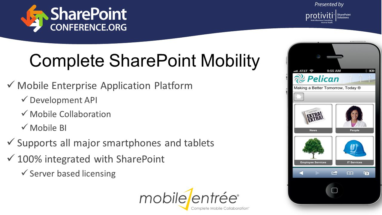 Access SharePoint content when not at your desk Continue business processes and workflows from your device Sync and work with SharePoint data offline without a client installation Mobile Collaboration