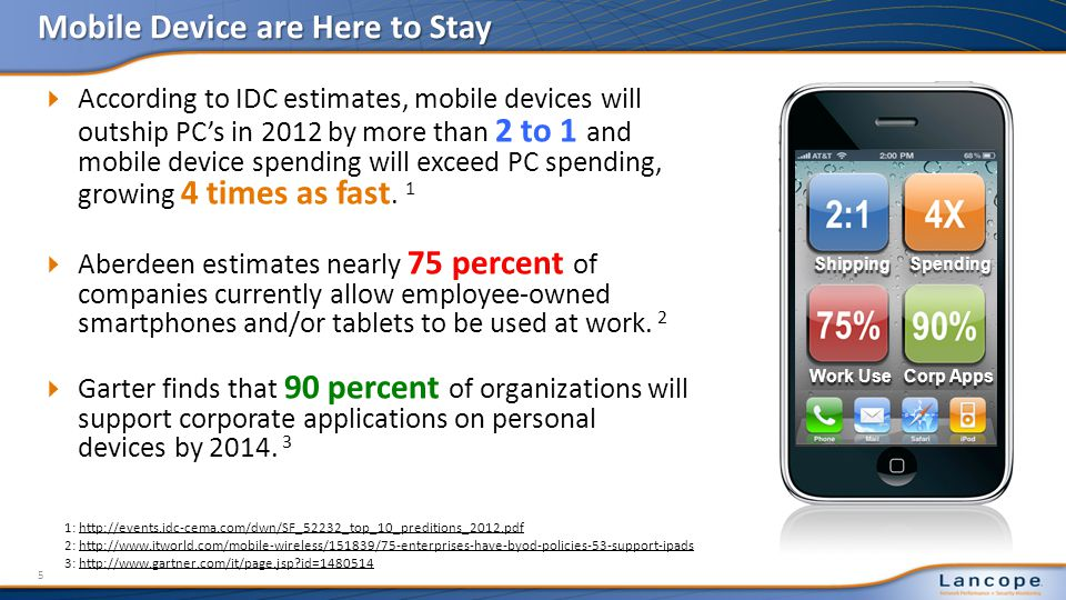 According to IDC estimates, mobile devices will outship PCs in 2012 by more than 2 to 1 and mobile device spending will exceed PC spending, growing 4 times as fast.