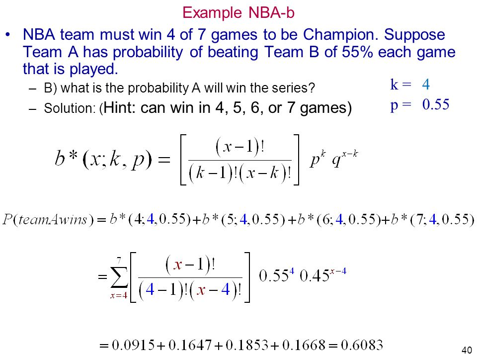 40 Example NBA-b NBA team must win 4 of 7 games to be Champion. Suppose Team A has probability of beating Team B of 55% each game that is played. –B)