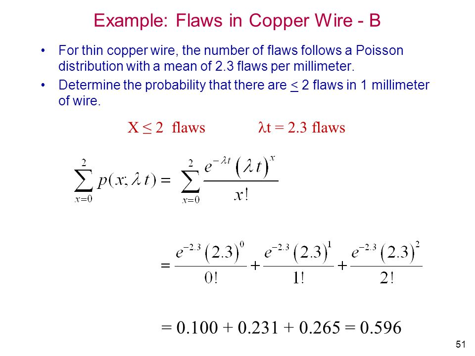 51 Example: Flaws in Copper Wire - B For thin copper wire, the number of flaws follows a Poisson distribution with a mean of 2.3 flaws per millimeter.