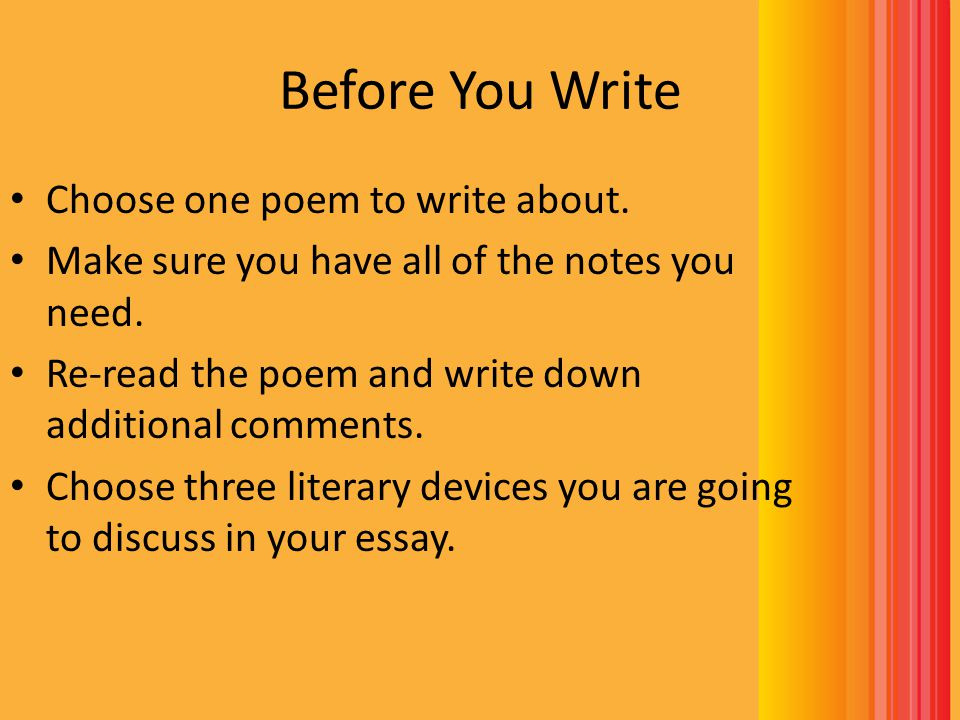 What is a good poem to use to write a poem analysis essay on?