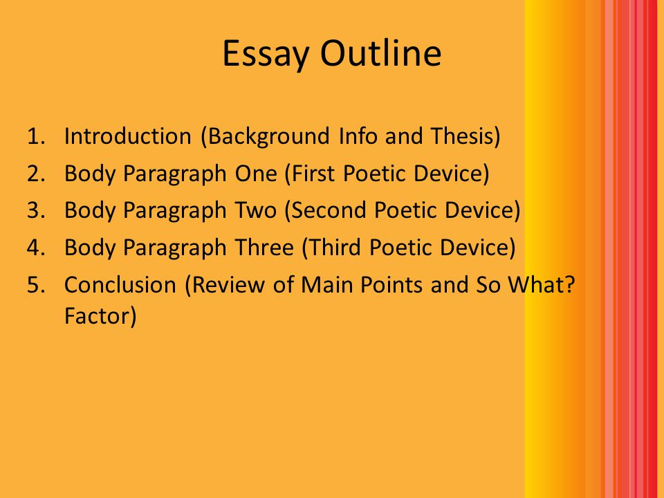Introduction Brief Summary – Write three to four sentences that provide background information about your poem (What is the poem about.
