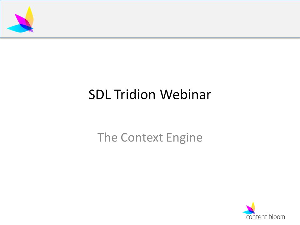 SDL Tridion Webinar The Context Engine