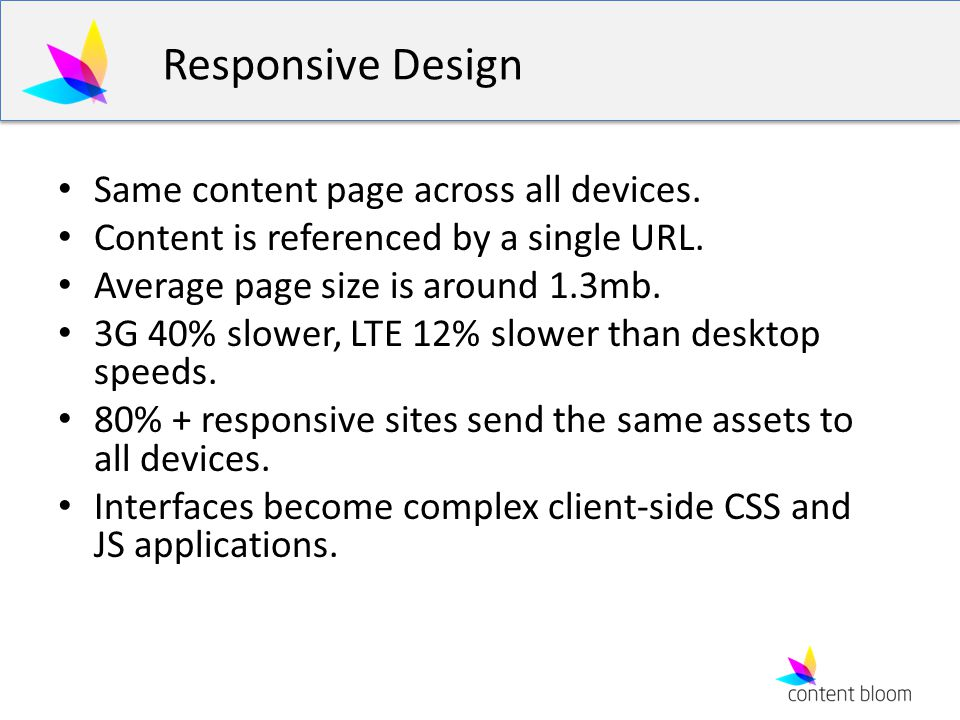 Responsive Design Same content page across all devices.