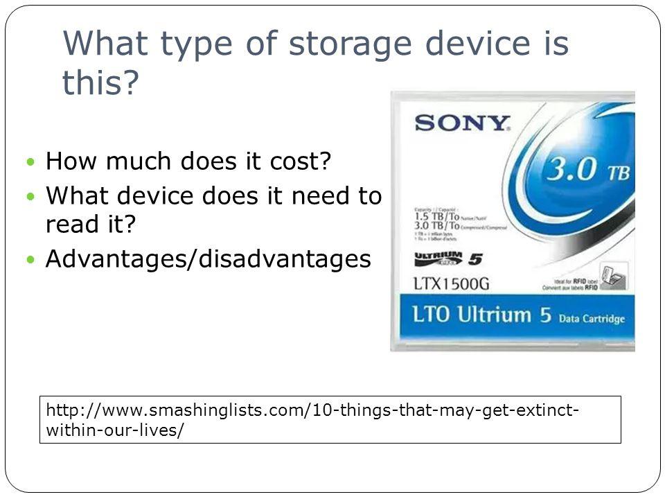 Cloud Storage Identify the advantages/disadvantages of cloud computing.