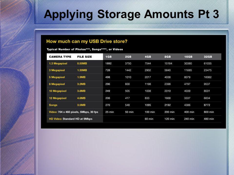 Applying Storage Amounts Pt 3