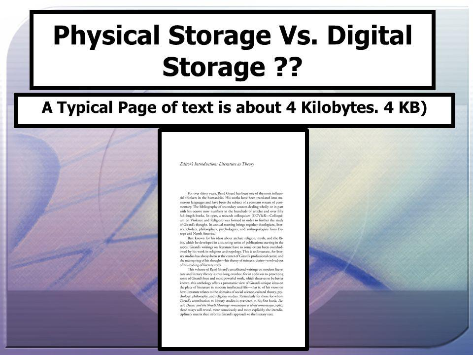 Physical Storage Vs. Digital Storage A Typical Page of text is about 4 Kilobytes. 4 KB)