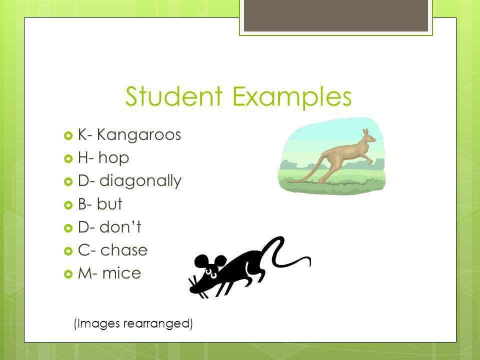 Student Examples K- Kangaroos H- hop D- diagonally B- but D- dont C- chase M- mice (Images rearranged)