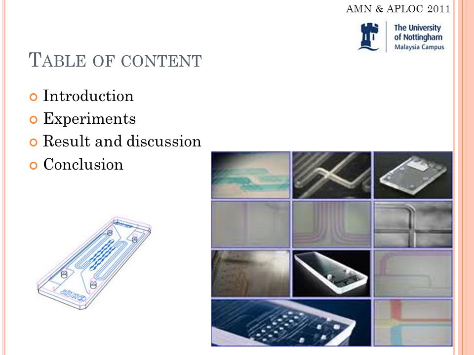 T ABLE OF CONTENT Introduction Experiments Result and discussion Conclusion AMN & APLOC 2011
