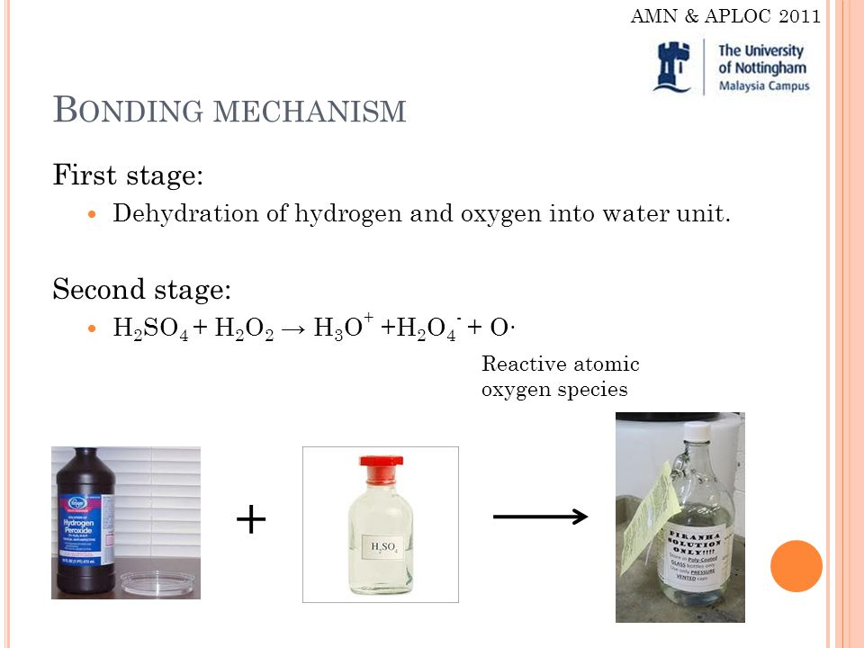 B ONDING MECHANISM First stage: Dehydration of hydrogen and oxygen into water unit.