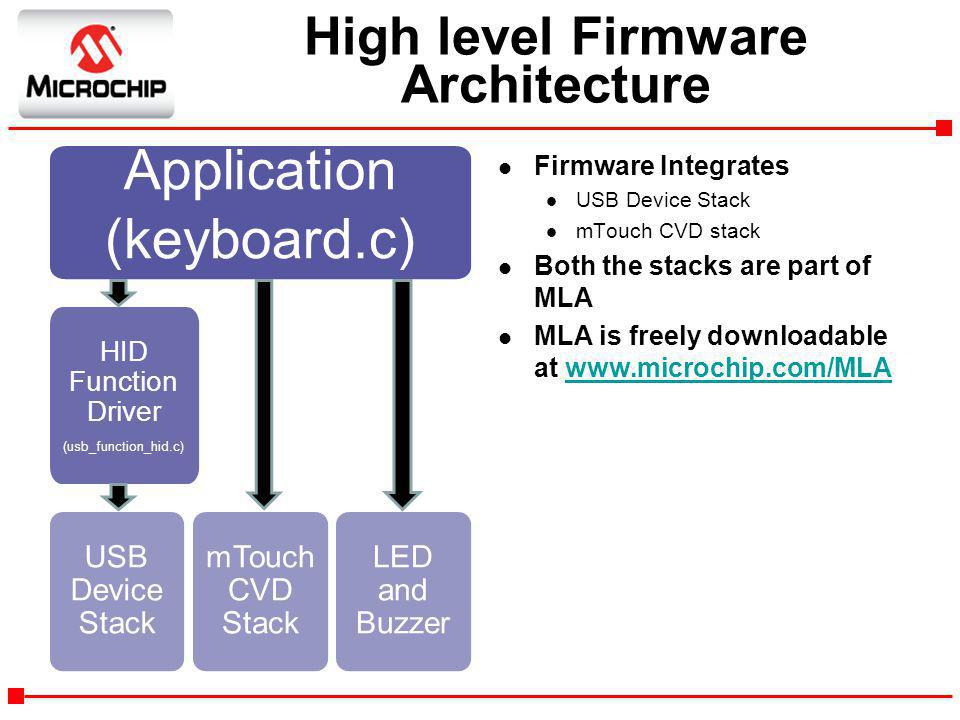 High level Firmware Architecture l Firmware Integrates l USB Device Stack l mTouch CVD stack l Both the stacks are part of MLA l MLA is freely downloa