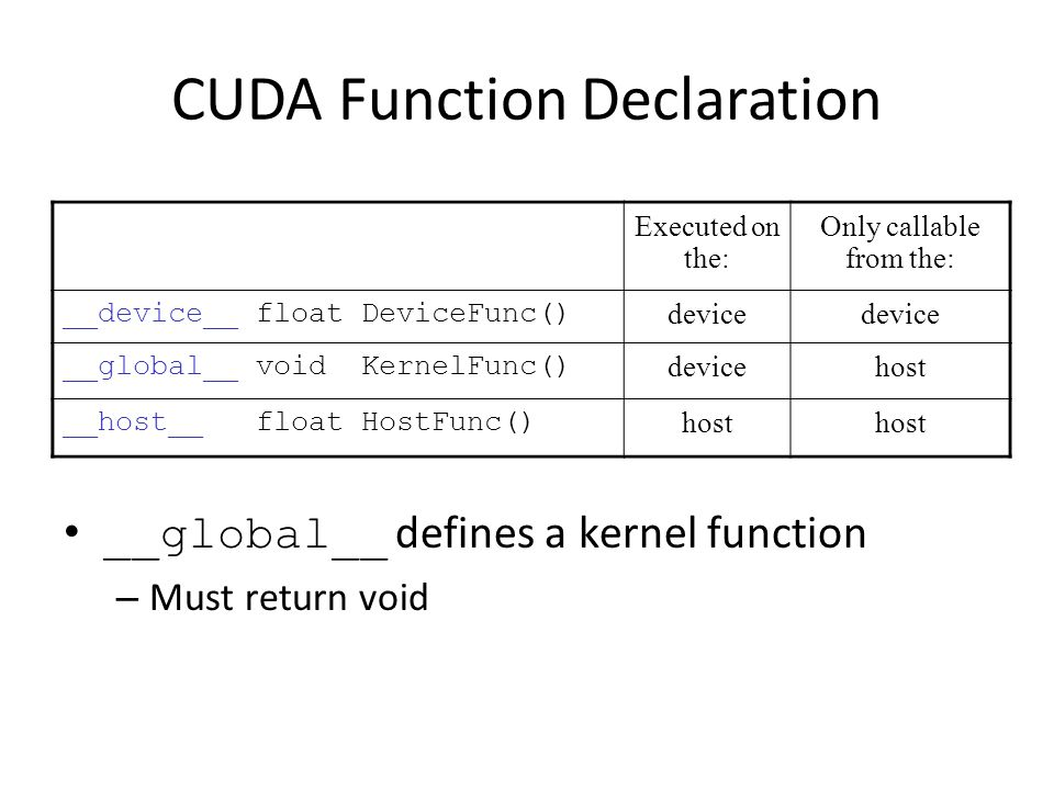 CUDA Function Calls Restrictions __device__ functions cannot have their address taken For functions executed on the device: – No recursion – No static variable declarations inside the function – No variable number of arguments